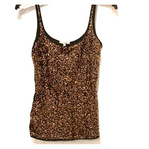 Black tank with gold sequins